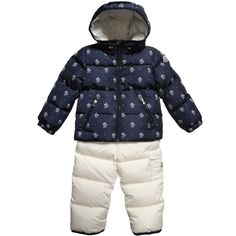 Moncler, warm jacket and salopettes set, suitable for both baby boys and girls.