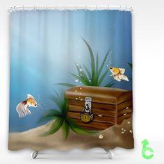 Cheap art underwater sea fish gold chest treasure castle bubbles Shower Curtain