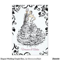 Elegant Wedding Couple Illustration Invitation Simple Wedding Invitations, Wedding Invitation Cards, Wedding Cards, Wedding Illustration, Couple Illustration, Elegant Couple, Glamorous Wedding, Wedding Styles, Wedding Ideas