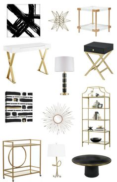 room decor Black White & Gold Target Finds to Decorate Your Home Black White & Gold Target Finds to Decorate Your Home — Whittaker Interiors - Interior Decorating, E-Design & Staging in Chicago Black White And Gold Bedroom, Black And Gold Living Room, White And Gold Decor, Living Room White, White Rooms, Black White Gold, Living Rooms, Black And White Furniture, Black Room Decor