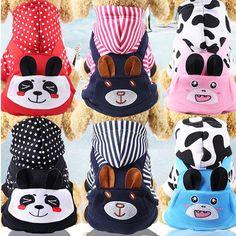 Haine pentru Animale de Companie, Catei, Pisici, Dragute, cu Panda, din Imitatie Lana Small Dog Coats, Small Dogs, Pet Dogs, Dog Cat, Pets, Cute Dog Clothes, Pet Corner, Pink Cow, Winter