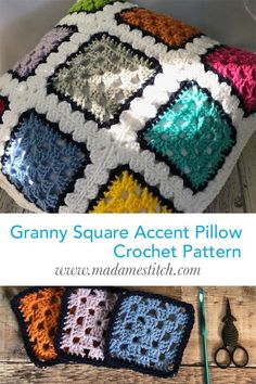 Granny Square Accent Pillow | Crochet Pattern by MadameStitch