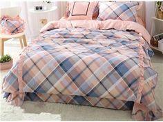 Stylish Style Plaid Print 4-Piece Cotton Duvet Cover Sets