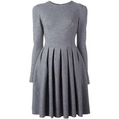 Ermanno Scervino flared pleated dress ($2,740) ❤ liked on Polyvore featuring dresses, grey, flare dress, gray dress, ermanno scervino, flared dresses and pleated dress