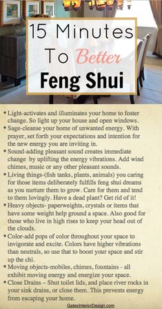 Want to update your home or office to attract something better? Here's 15 Minutes To Better Feng Shui. shui decor office 15 Minutes To Better Feng Shui Feng Shui House, Feng Shui Bedroom, Living Room Feng Shui, Feng Shui Studio, New Energy, Good Energy, Consejos Feng Shui, Feng Shui History, Fen Shui