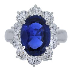 Natural Unheated Burma Sapphire Diamond Platinum Ring | From a unique collection of vintage cocktail rings at https://www.1stdibs.com/jewelry/rings/cocktail-rings/
