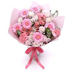 Personalised Pretty Pink Bouquet ($50) ❤ liked on Polyvore featuring home, home decor, floral decor, filler, flowers, rose flower bouquet, flower bouquets, flower stems and pink flower bouquet