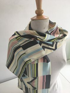 PADDY BARRASS GORGEOUS COLOURFUL STRIPES & ZIGZAGS REVERSIBLE LONG SILK SCARF #PaddyBarrass #Scarf