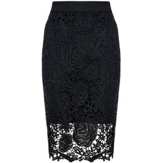 QUIZ Black Lace Zip Back Midi Skirt ($31) ❤ liked on Polyvore