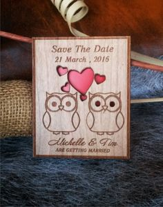 laser cut Save-The-Date Magnets (10) / Engraved Save The Date Wedding magnets / Owl Rustic Save the Date