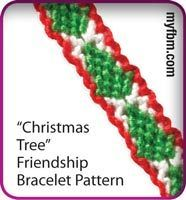 Friendship Bracelet Pattern Christmas Tree design written and video instructions using the My Friendship Bracelet Maker by MyFBM.