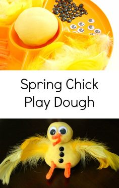 Spring Chick Play Dough Invitation - Fantastic Fun & Learning - Spring Chick Play Dough Invitation for Easter, Spring, or Farm Theme - Eyfs Activities, Nursery Activities, Playdough Activities, Animal Activities, Easter Activities, Spring Activities, Activities For Kids, Crafts For Kids, Preschool Ideas