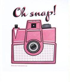 Oh Snap Vintage Camera Letterpress Art Print