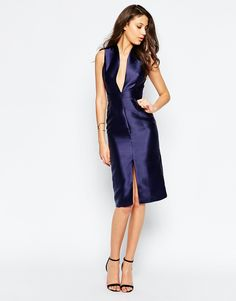 Image 4 ofTrue Decadence Tall Plunge Front Pencil Dress