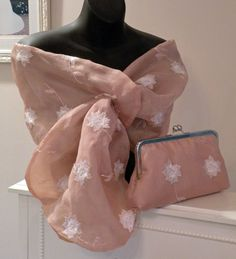 Silk Organza Wrap/Shawl/Shrug..Long Island Bridal/Evening/Handmade.Embroidered floral w/beads..Pink/Ivory Pull Thru Hands Free..Clutch match