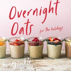5 Overnight Oats for the Holidays! - 5 Overnight Oats for the Holidays! Best Picture For cookie recipes For Your Taste You are looking - Healthy Brunch, Healthy Breakfast Recipes, Healthy Recipes, Breakfast Smoothies, Keto Snacks, Healthy Snacks, Easy Overnight Oats, Oatmeal Recipes, Smoothie Recipes