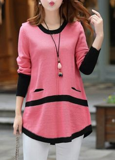 Long Sleeve Button Decorated Pink Sweater    lulugal.com - USD $33.05