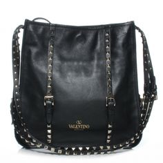 This is an authentic VALENTINO GARAVANI Leather Rockstud Shoulder Bag in Black. This stylish shoulder bag is crafted of fine leather that is completely lined on all edges with silver studs. Shopper Tote, Valentino Garavani, Satchels, Clutches, Shoulder Bags, Studs, Handbags, Stylish, Silver