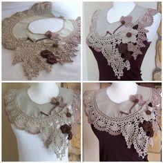 Lacy Romantic Collar by DAINTYCROCHETBYALY, via Flickr  et une succession de petites merveilles de tissu et de crochet
