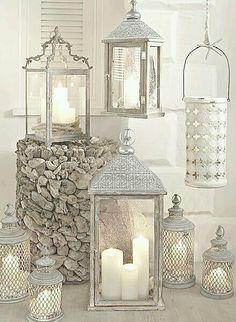 Raindrops And Roses, Lanterns Decor, Silver Lanterns, Silver Candles, Decorating With Lanterns, Shabby Chic Lanterns, Hanging Candle Lanterns, Vintage Lanterns, White Candles