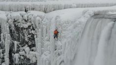 (USA TODAY) -- This looks intense. Known Canadian ice climber Will Gadd conquered the northernmost part of Horseshoe Falls, beginning at the frozen river base of Niagara River and climbing to Terrapin. Niagara Falls Frozen, Niagara Falls Ny, Buffalo News, Buffalo New York, Ice Climber, Fall Photos, Climbers, Top Photo, Scenery