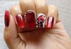 Deadpool Nailart.  #deadpool #movieinspired #handpainted #acrylicpainting