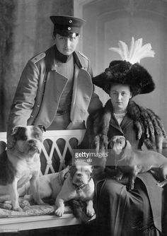 (GERMANY OUT) Prussia, August Wilhelm, Prince of, Germany*29.01.1887-25.03.1949+son of the last German emperor- with his wife Princess Alexandra Victoria of Schleswig-Holstein-Sonderburg-Gluecksburg and their dogs - Photographer: Selle & Kuntze- 1910Vintage property of ullstein bild (Photo by Selle & Kuntze/ullstein bild via Getty Images)