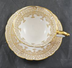 SUTHERLAND Fine Bone China Cup amd Saucer With Lots of  FANCY GOLD by RarebirdAntiques on Etsy