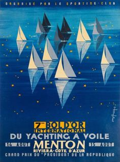Menton-France-Paris-Yachting-French-Riviera-Vintage-Travel-Advertisement-Poster