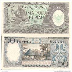 Indonesia P96, 1964, 50 Rupiah, Timor woman, spinning wheel