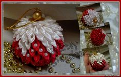 Home sorceress - Workshop MK-kanzashi ball on the Christmas tree (author anansy) Quilted Christmas Ornaments, Christmas Fabric, Handmade Christmas, Christmas Baubles, Christmas Crafts, Christmas Tree, Folded Fabric Ornaments, Beaded Ornaments, Handmade Ornaments