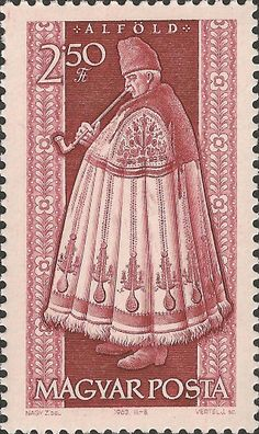Stamp printed by Hungary, shows provincial shepherd costumes of Alfold, circa 1963