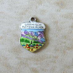 Vintage Silver Garmisch Partenkirchen Germany Enamel Travel Shield Charm  #Charms - Free Shipping