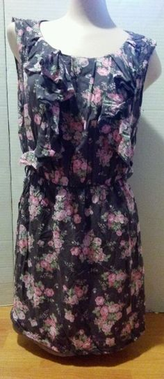 Cotton Candy Women's Floral sleeveless Dress gray pink sz Medium in Clothing, Shoes & Accessories, Women's Clothing, Dresses | eBay