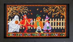 Let's Go Trick or Treating is the title of this spooky cross stitch pattern from Bobbie G Designs that is stitched with DMC threads.