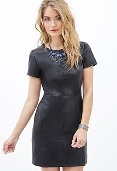 Black Faux Leather Sheath Dress | FOREVER21 - 2000060131 $30 CUTE