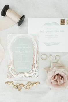gold and grey geode styled wedding invites