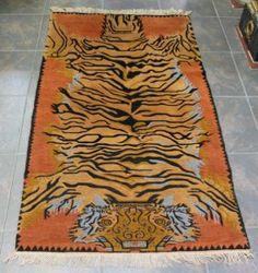 TIBETIAN TIGER CARPETS | 178: Handmade Tibetan Tiger Carpet.
