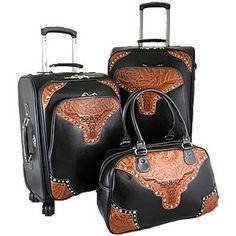 Montana West Western Longhorn 3-piece Luggage Set w/ Floral Embossed Trim Black