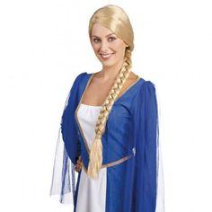 Mittelalterliche Damenperücke blond mit Zopf Oktoberfestperücke