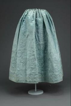 Light blue satin quilted petticoat 18th century