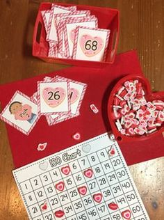 "Valentine's Day Math  This product includes 5 math centers focusing on identifying, sequencing, comparing numbers and place value. Blank cards are included to adjust the centers to your students' needs.  *Sweet Divide the cards among the players. Players flip one card over at a time. The player with the highest number wins the cards!  directions heart number cards 1-108 blank cards Sweet ""fun"" cards  *Complete the Order Be the first player to complete the number sequence. Use t"