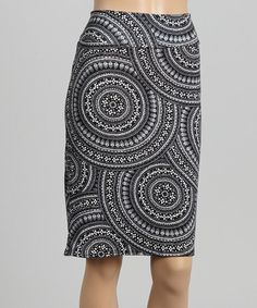 Look at this #zulilyfind! Black & White Swirl Circle Pencil Skirt - Women by MIA MIA #zulilyfinds