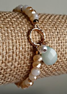 Delicate Wire Wrapped Drop Stone and Pearl Charm Stretch Bracelet - Mint