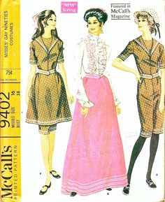 McCall's Pattern 9402 Vintage 60's Costumes - Gay Nineties Bathing Suit + Skirt, Blouse with Leg O' Mutton Sleeves! Uncut Size 16 Bust 38 $24.00