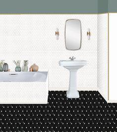 Salle de bain noire et blanc. Création de maquettes décoration pour vous projeter dans votre futur intérieur. Decoration, Bath Mat, Vanity, Bathroom, Home Decor, Future, Decor, Dressing Tables, Washroom