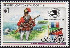 Sello: Light company private, Foot Regiment, 1778 (San Kitts) (World Stamps Mi:KN-K 275 Lighting Companies, St Kitts, Saints, Baseball Cards, World, Washington, Stamps, Collection, Door Bells