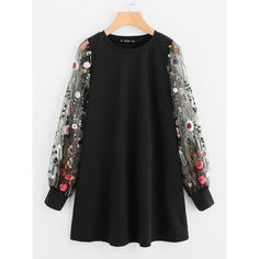 SheIn(sheinside) Botanical Embroidered Mesh Sleeve Longline Pullover ($16) ❤ liked on Polyvore featuring tops, black, embroidered long sleeve top, sweater pullover, floral print tops, pullover top and sleeve top