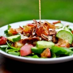 Roasted apple, pecan and chicken spinach salad.