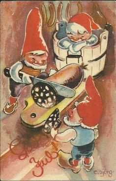 God Jul postcard, by Elbjørg Øien